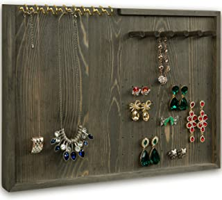 MyGift Vintage Gray Wood Jewelry Hanger/Wall Organizer with Brass Necklace Hooks, Bracelet Pegs & Earring Holders