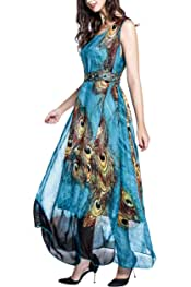 a5b8b0b142a Wantdo Women s Flowy Chiffon Maxi Dress Plus Size Summer Casual Long Dresses  with Belt