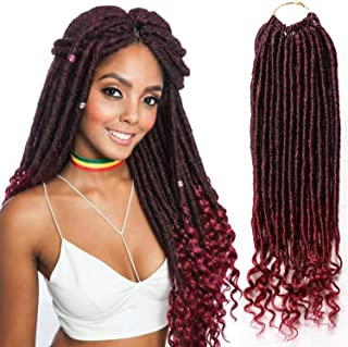 6 Packs Faux Locs Crochet Braids with Wavy Ends Straight Goddess Locs with Curly Ends 14 Inch Synthetic Crochet Hair Dreadlocs Hair Extension (1B/Burgundy)