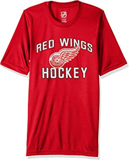 Outerstuff NHL NHL Detroit Red Wings Youth Boys Quick Net Performance Short Sleeve Tee, Red, Youth Medium(10-12)