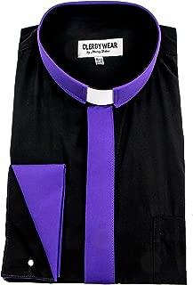 Two Tone Mens Long Sleeve TAB Collar French Cuff Clergy Shirt (Black/Roman Purple Placket)