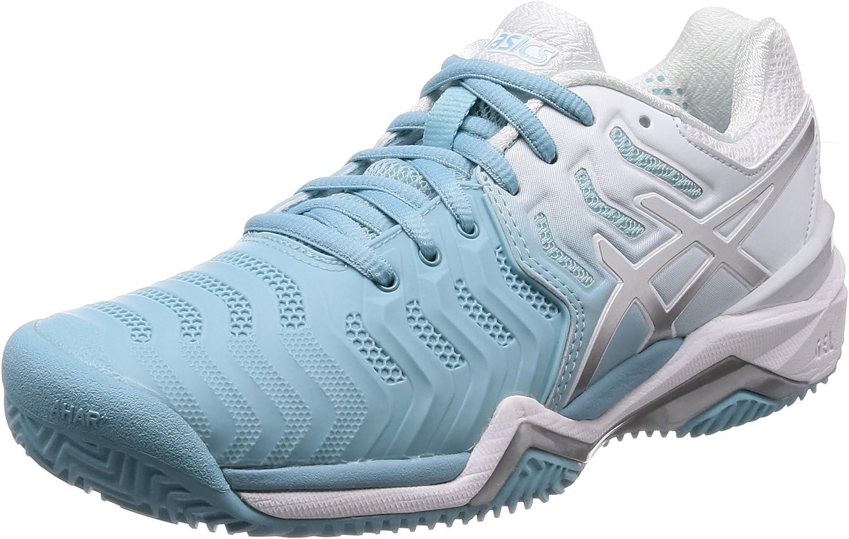 ASICS Damen Gel-Resolution 7 Clay Tennisschuhe, Blau Glacial Silber Weiß Weiß  erstaunliche colorways