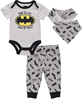 Details about  /Baby 0 Batman 2 Set Bodysuit /& Bib Soft Cotton Long Sleeve Romper Grey Blue Bib