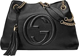 6dc886d9e58 Gucci Womens Soho Leather Chain Straps Shoulder Handbag Black Large