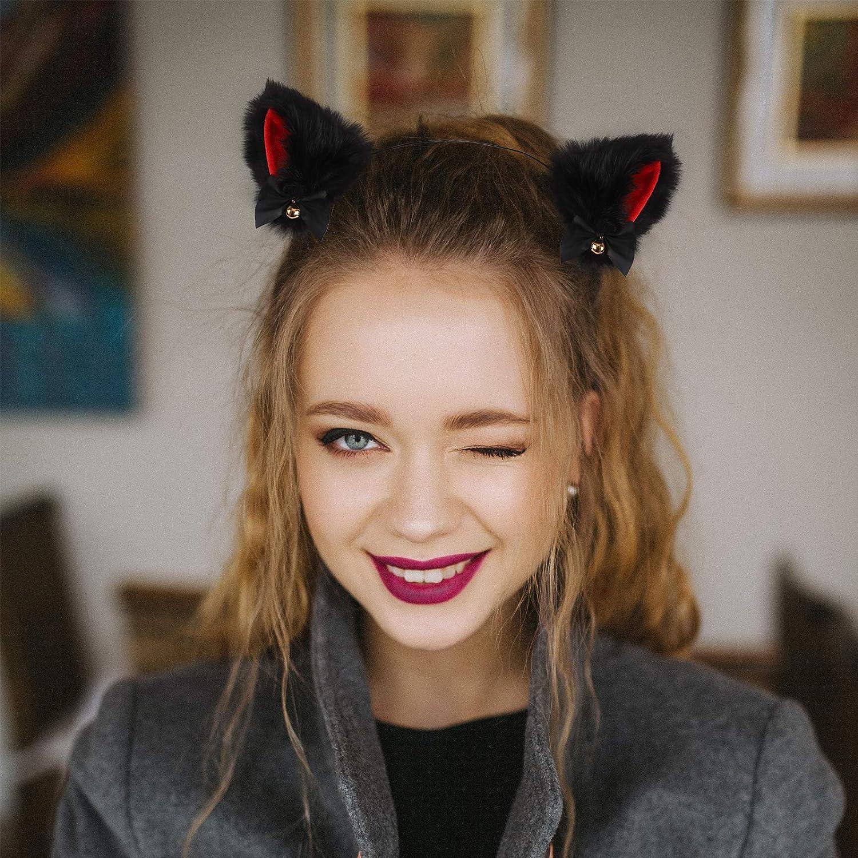 Cat Ears Headband Cosplay Girl Plush Furry Ears Halloween Makeup Party Hairband Headwear Accessory for Women Girls Neko Ears with Ribbon Bells