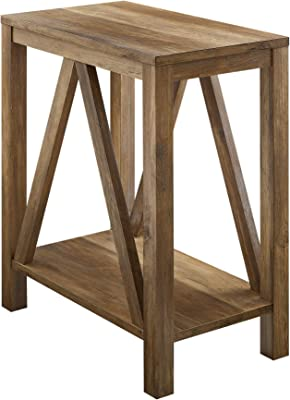 Walker Edison Modern Farmhouse A-Frame Wood Rectangle Side Living Room Small End Accent Table, 13 Inch, Reclaimed Barnwood