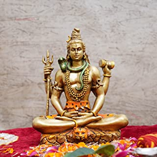 TIED RIBBONS Lord Shiva in Meditation Pose Statue Sculpture Hindu God and Destroyer Evil Ignorance, and Death Sculpture Ho...