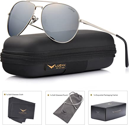 027eda41615fd LUENX Aviator Sunglasses Polarized Men Women with Accessories Metal Frame  UV 400 Driving Fashion 60MM (