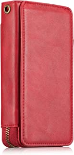 Galaxy S8 Wallet Case,TACOO Soft Leather Card Holder Money Slot Hand Strap Zipper Protective Red Cover for Samsung Galaxy S8