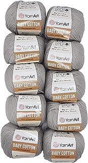 YarnArt Baby Cotton Lot de 10 pelotes de laine à tricoter 50 % coton, 500 g de laine unie (gris 406)
