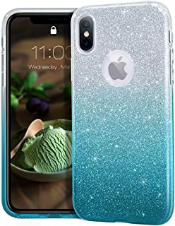 """MATEPROX iPhone Xs case,iPhone X Glitter Bling Sparkle Cute Girls Women Protective Case for iPhone Xs/X 5.8"""" -Gradient Green"""