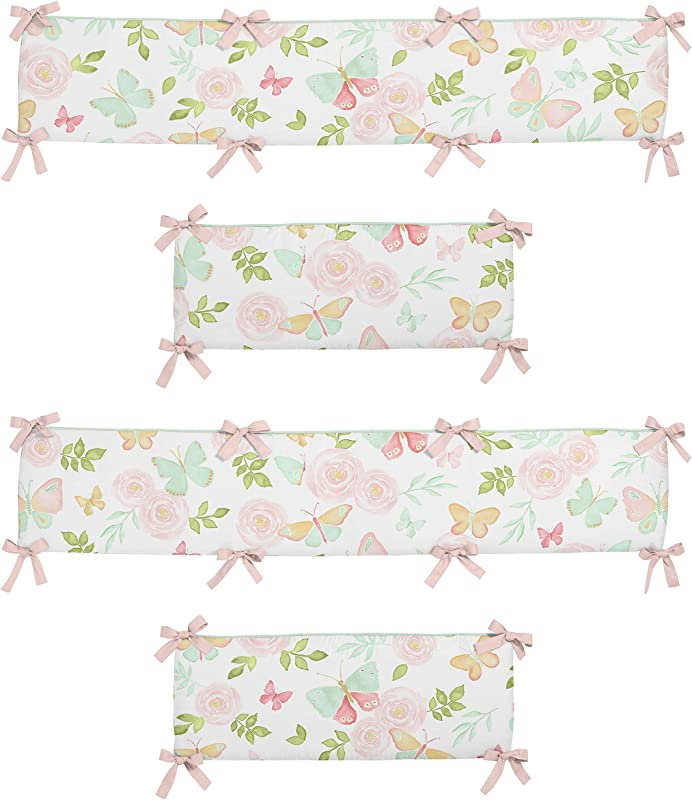 Sweet Jojo Designs Blush Pink Mint And White Watercolor Rose Baby Crib Bumper Pad For Butterfly Floral Collection