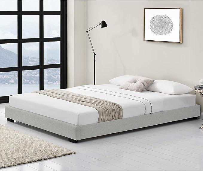 Corium Cama Individual Tapizado en Piel sintética 90 x 200 cm Somier Moderno con Listones para Cama Blanco