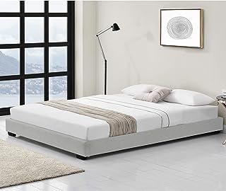 Corium Lit pour Adultes Cadre de Lit ModerneMDF Plastique Rembourré avec Similicuir Blanc 200cm x 140 cm