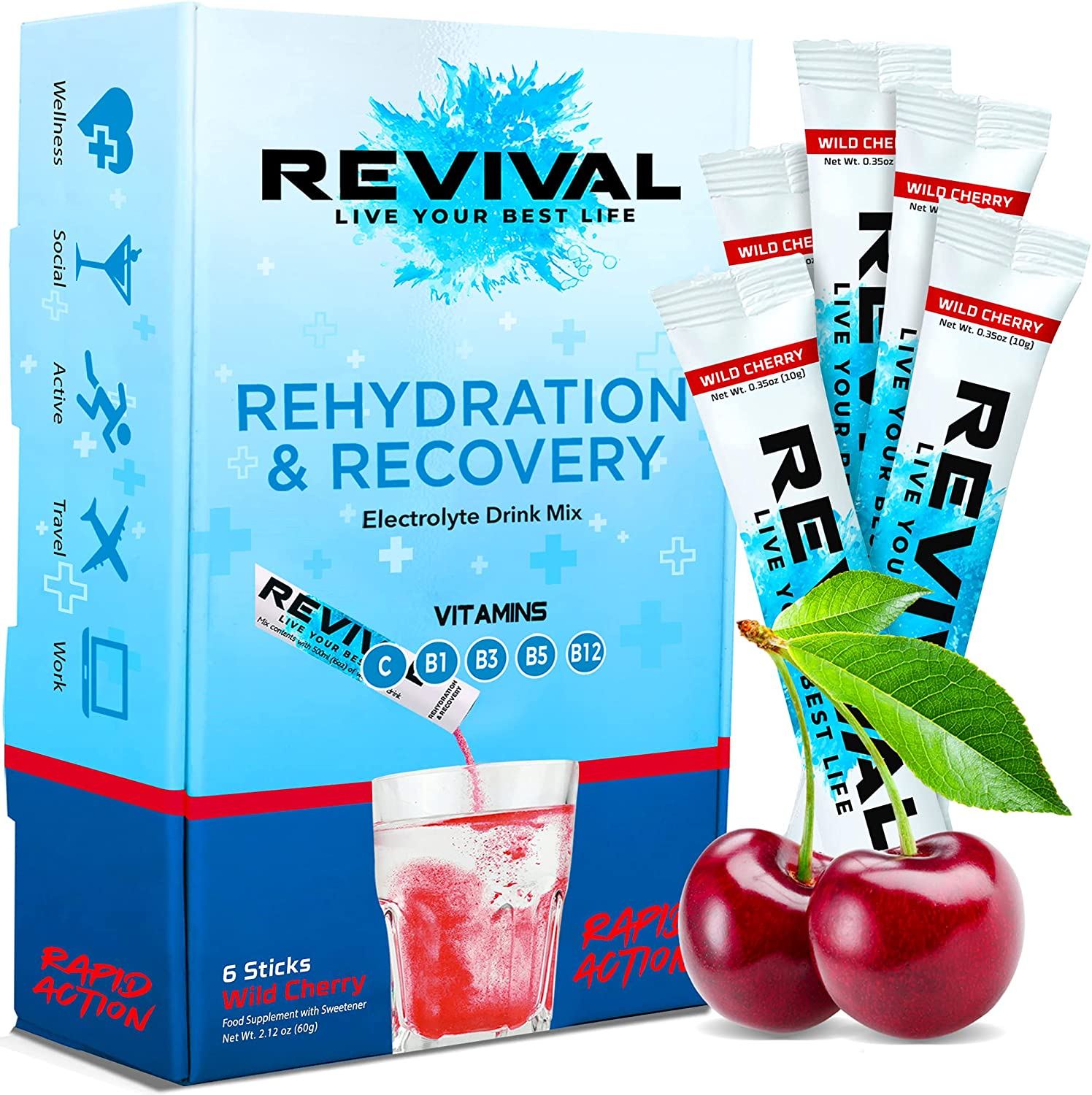 Revival Hydration Electrolytes Powder Drink Supplement Max 46% Gorgeous OFF Packets