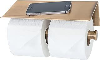 Double Roll Toilet Paper Holder with Phone Shelf - Bathroom Tissue Dispenser - Modern Style (Bronze)