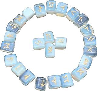 Opalite Natural Crystal Rune Stones for Chakra Balancing Reiki Healing Spiritual Meditation Home Office Decor Size: 20-25 ...