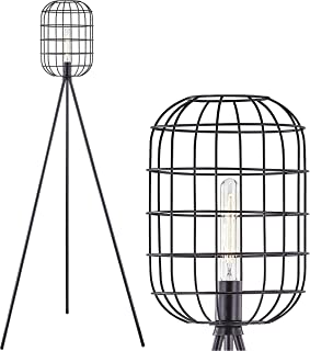 LeeZM Black Industrial Floor Lamp for Living Room Modern Floor Lighting Rustic Tall Stand Up Lamp Vintage Farmhouse Tripod Floor Lamps for Bedrooms, Office Torchiere Standing Lamp (Bulb Included)