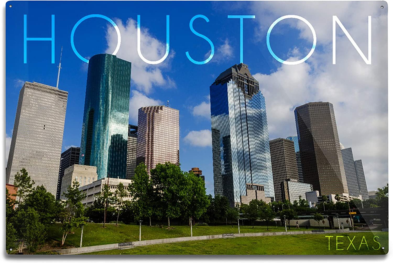 Lantern Press Houston Texas Skyline Blue Ranking TOP20 12x18 Large special price Alumin and Sky