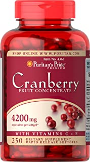 Puritans Pride Cranberry Fruit Concentrate with C & E 4200 Mg, 250 Count