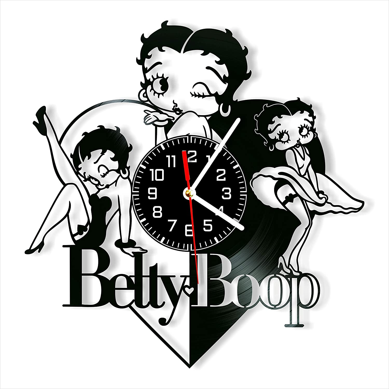 Betty Boop Vinyl Clock, Betty Boop Wall Clock 12 inch (30 cm), Original Gifts, The Best Home Decorations, Unique Art Decor, Original Idea for Home Decor