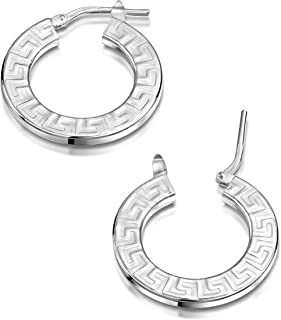 AmbertaWomen's925 Sterling Silver Hoop Earrings: Greek Pattern Hoops