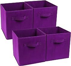 Zonyon 4-Cube Heavy Duty Storage Container, Foldable Fabric Storage Cube,Basket,Bookshelf Organizer,Nursery Hamper with Ha...