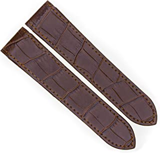 23mm Brown Grain Leather Strap Watch Band Fits Cartier Santos 100 XL Non-Chronograph by Vintage G