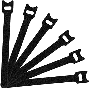 50PCS Fastening Cable Ties Reusable, cable organizer, Premium Adjustable Cord Ties, Microfiber Cloth Cable Management Straps 6-Inch, Black
