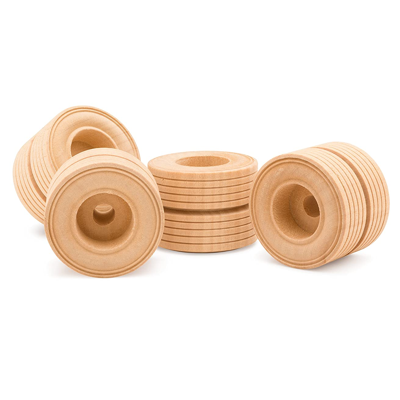 Woodpeckers 12 Wooden Craft Toy Treaded Wheels (2