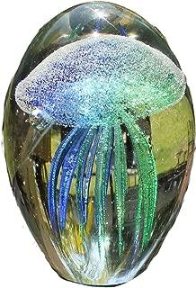 SPI Home Art Glass Teal Jellyfish Glow in the Dark,3