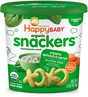 Happy Baby Organic Snackers Baked Grain Snack for Crawling Babies, Creamy Spinach and Carrot, 1.5 Ounce (Pack of 6)