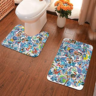 Lilo Stitch Bath Mat 2 Piece Set Bathroom Carpet Set Soft Anti-Skid Pads Bath Mat + Contour Pads, Absorbent Carpet Bath and Mat Anti-Slip Pads Set