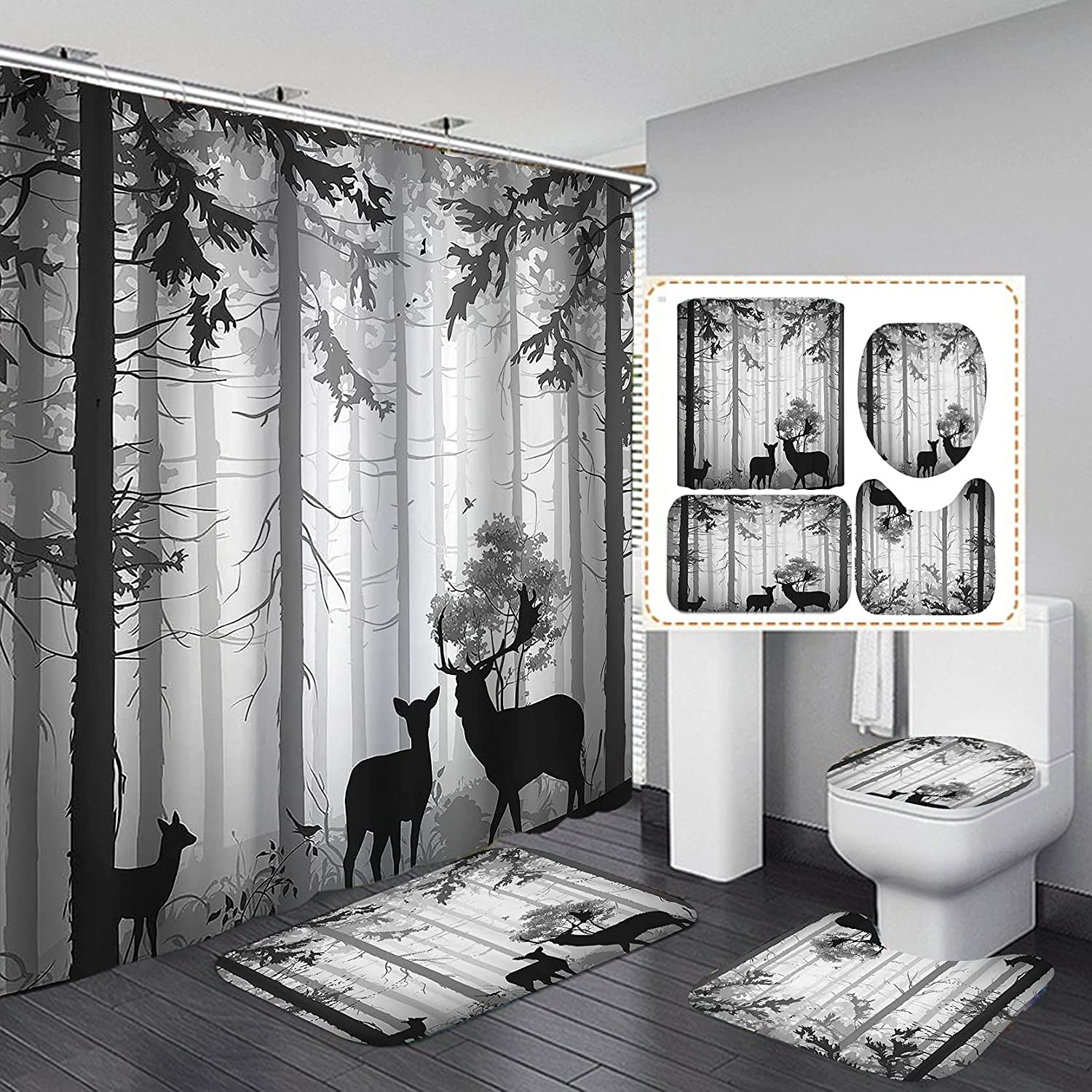 CamilleAndrew 4PCS Set Black Shipping included Rustic Shower with Curtain Max 66% OFF Deer No