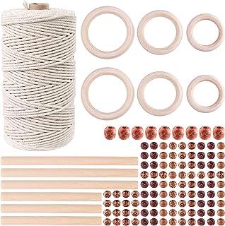 comprar comparacion TUPARKA 109 Yadrs 3mm Cordón de macramé natural con 110 piezas Cuentas de madera 6 piezas Anillo de madera y 6 piezas Palo...