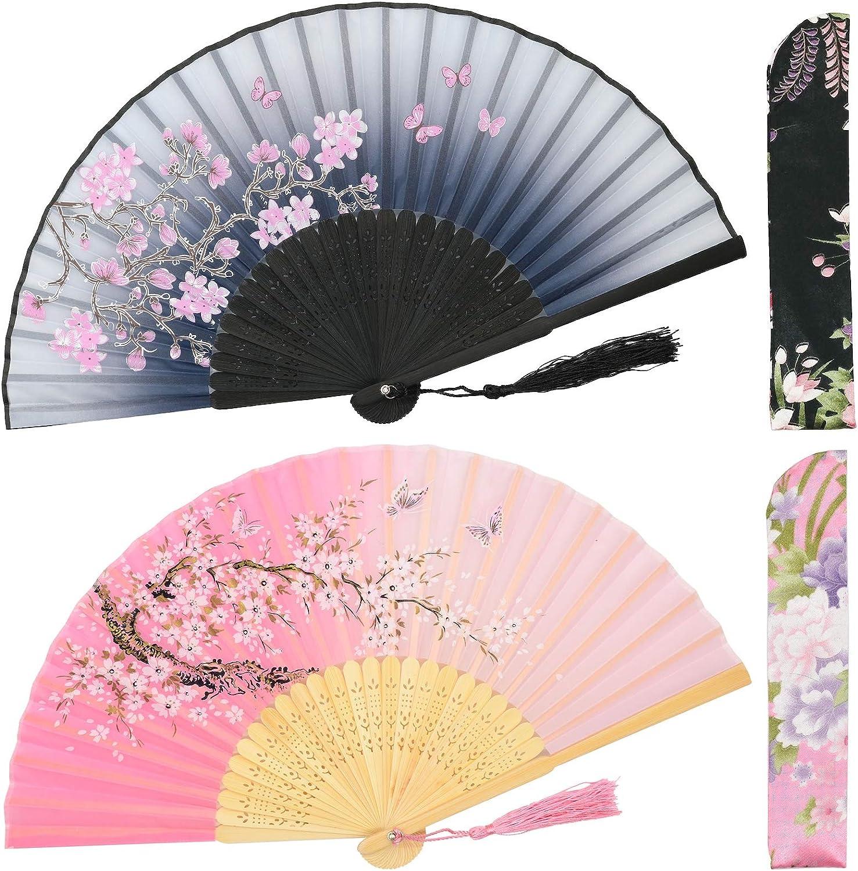 OMyTea Folding Hand Fans for Women - Chinese Japanese Vintage Bamboo Silk Fans - for Hot Flash, EDM, Music Festival, Party, Dance, Performance, Decoration, Wedding, Gift (Gray & Pink Sakura)