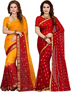 Ishin Combo of 2 Chiffon Multicolor Tie and Dye and Other Zari Woven With Golden Butti Printed Women's Saree
