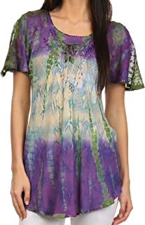 Dina Relaxed Fit Sequin Tie Dye Embroidery Cap Sleeves Blouse/Top