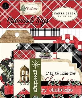Carta Bella Paper Company CBCH89025 Christmas Frames & Tags Ephemera, Red/Green/Black/Tan