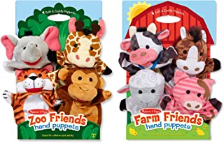 Melissa & Doug Animal Hand Puppets Set, The Original Zoo Friends and Farm Friends (8 Puppets, Great Gift for Girls and Boys - Kids Toy Best for 2, 3, 4, 5 and 6 Year Olds)