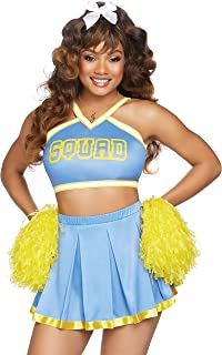 blue and yellow cheerleader costume