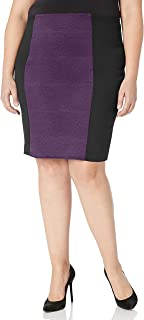 Star Vixen Women's Plus Size Knee Length Slimming Colorblock Ponte Knit Pencil Skirt with Back Slit