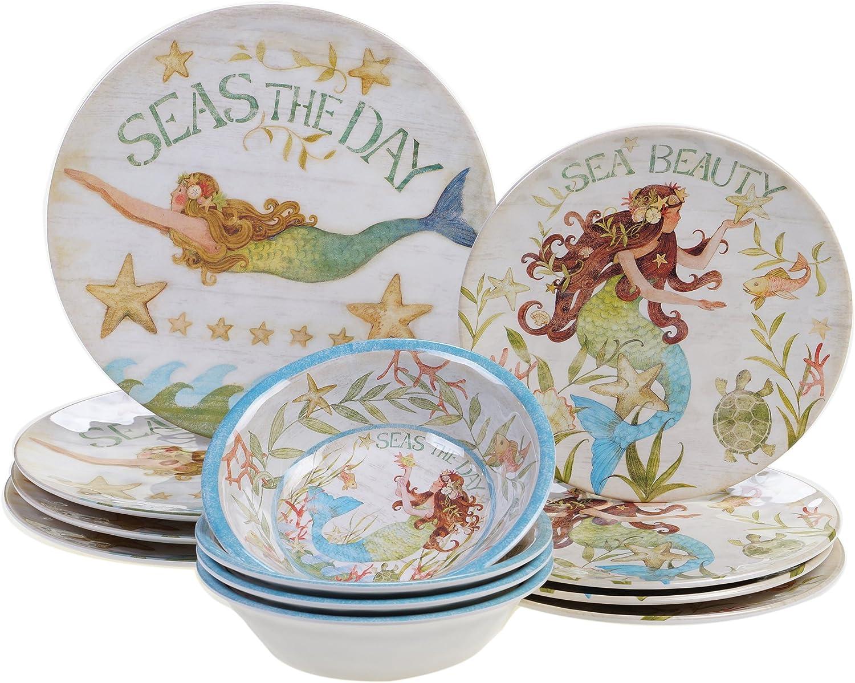 Certified International SEA12PC Durable Sea Beauty Dinnerware Set, Multicolor