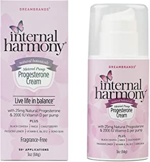 Internal Harmony Progesterone Cream, Contains Natural USP Bioidentical Progesterone from Wild Yam, Black Cohosh, Maca, Cha...