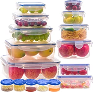 Food storage containers-Stackable and Nestable Kitchen containers and storage bowls sets-BPA Free Leak proof Plastic Containers with airtight lids-Microwave and freezer safe lunch boxes