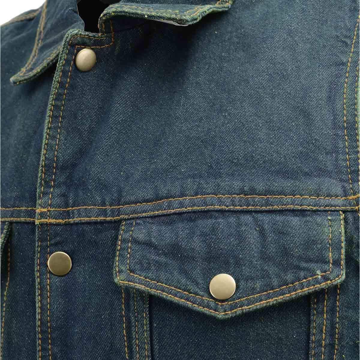 Men's XS107 Classic Blue Snap Front Denim Vest with Shirt Style Collar - 4X-Large