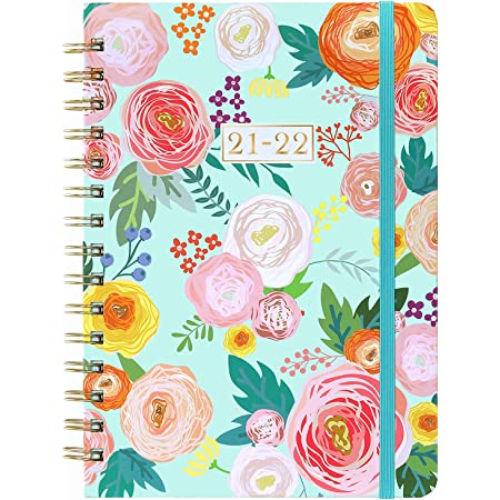 """2021-2022 Planner - Weekly & Monthly Planner with Monthly Tabs, July 2021 - June 2022, 6.3"""" x 8.4"""", Flexible Floral Hardcover with Thick Paper, Elastic Closure, Inner Pocket"""