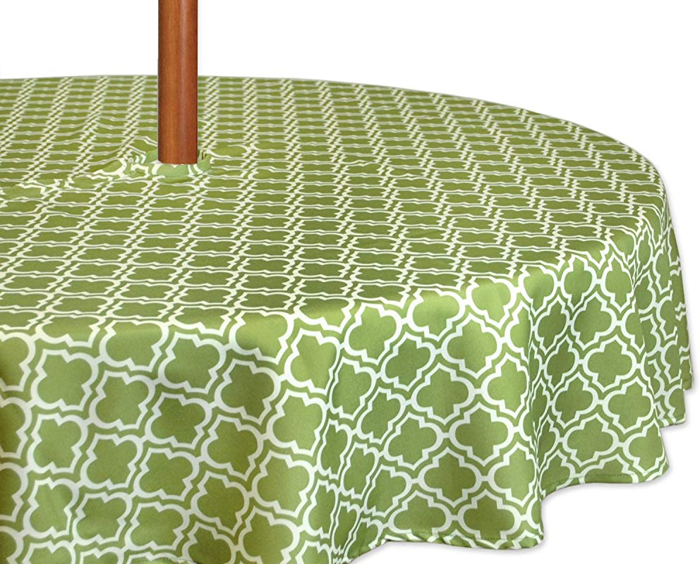 DII Spring Summer Outdoor Tablecloth Spill Proof And Waterproof With Zipper And Umbrella Hole Host Backyard Parties BBQs Family Gatherings 60 Round Seats 2 To 4 Fresh Spring Lattice