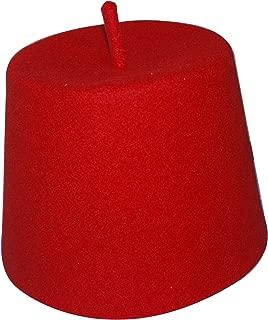 TheKufi Tall Red Fez Tradition Felt Perforated Tarabush with Stem