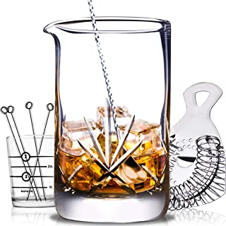 Cork & Mill Cocktail Mixing Glass Set - 24 oz (700 ml) - Hand Cut Crystal Cocktail Kit - 8-Piece Old Fashioned Kit with Cocktail Stirring Glass, Strainer, Bar Spoon, Jigger, and Picks